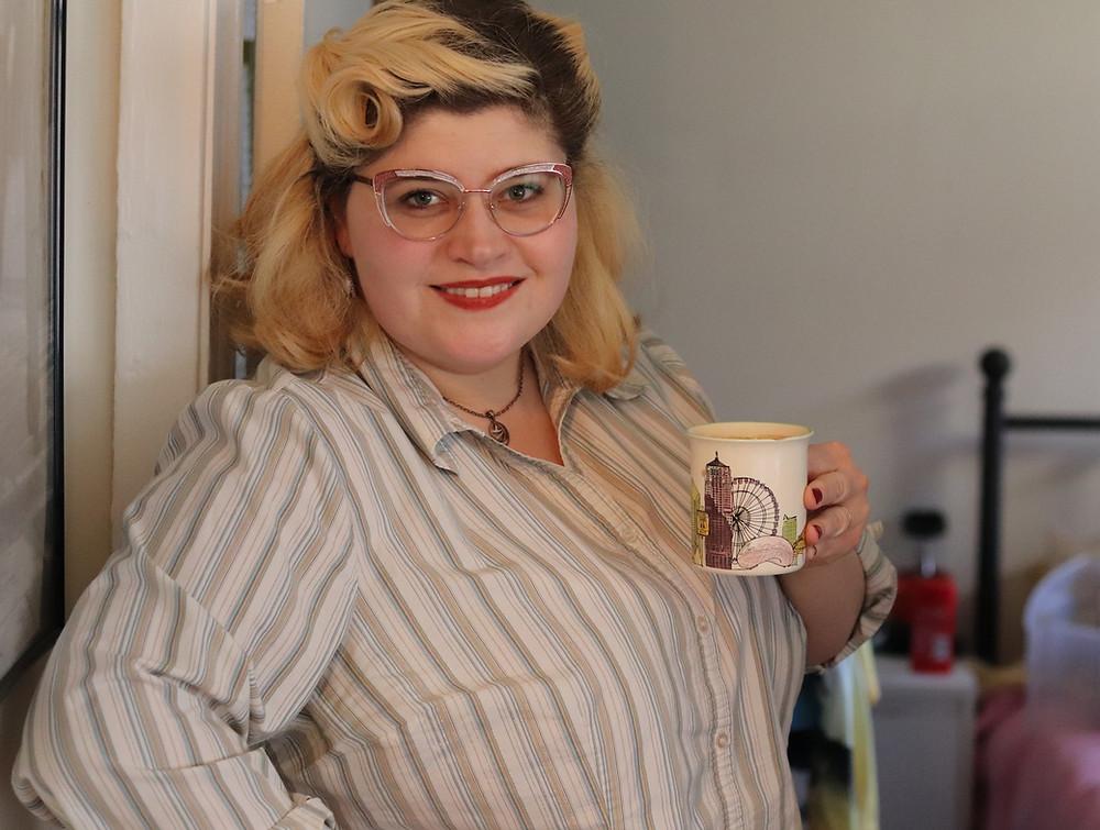 Tarah with a coffee mug