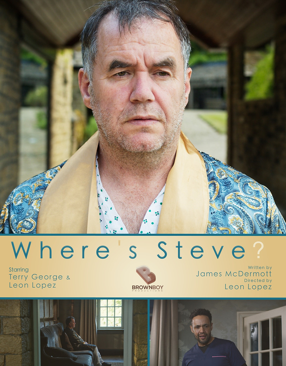 Film poster for Where's Steve? showing a confused and lonely older man, glancing off into the distance in longing for his partner's return.