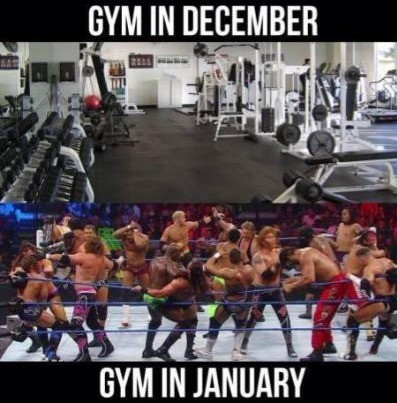gym in December, gym in January