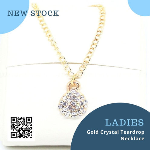 Gold Crystal Teardrop Necklace - New Stock