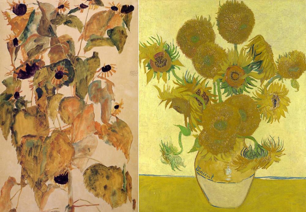 Left: Schiele, Sunflowers (1911); Right: van Gogh, Sunflowers (1888)