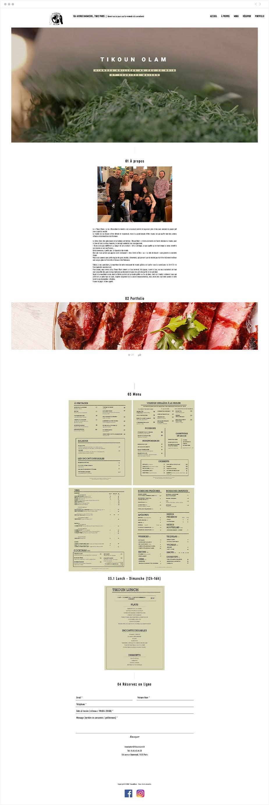 Exemple de site one-page - Tikoun Olam