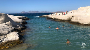 Waves breaking on the rocks at Sarakiniko Beach, Milos (Greece)