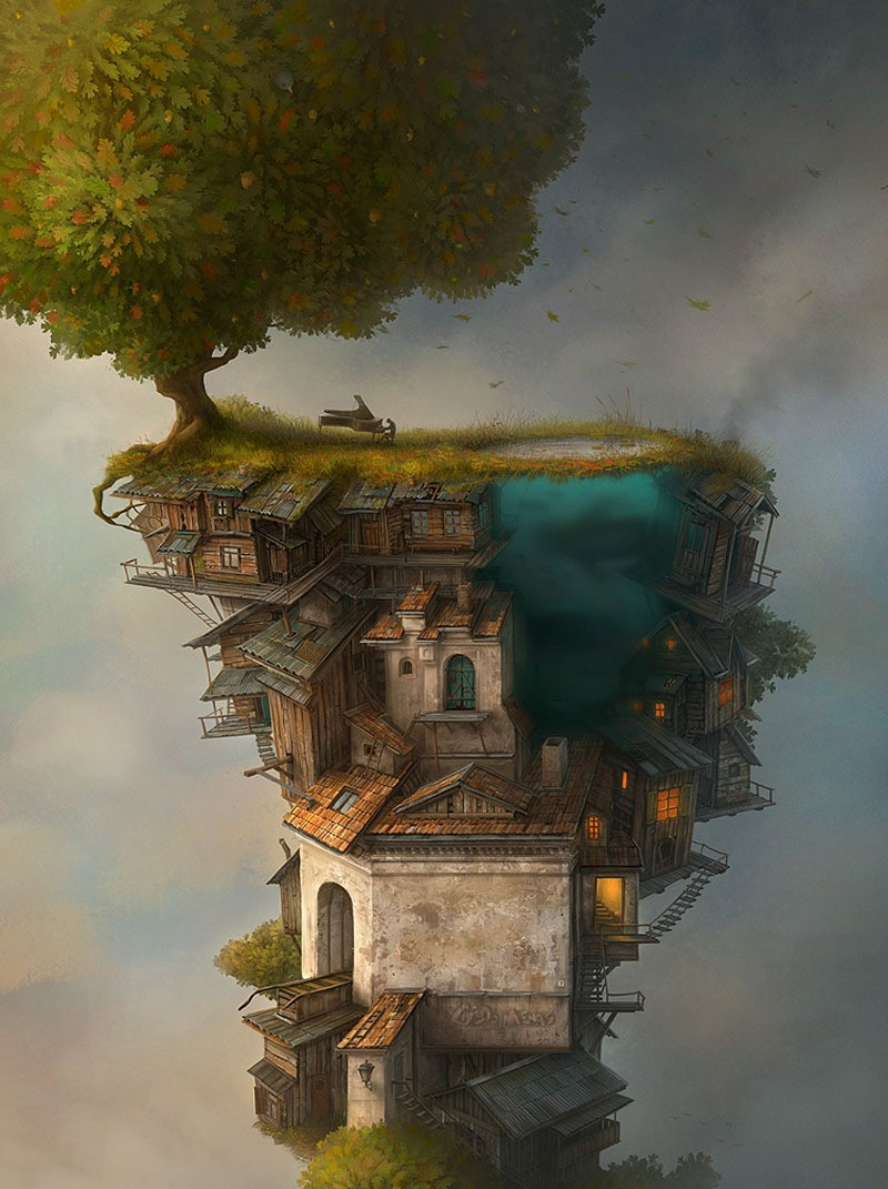 A surreal-style illustration of a tree-like world