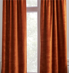 orange curtains, jewel tones, orange home design, accent color, accent curtains