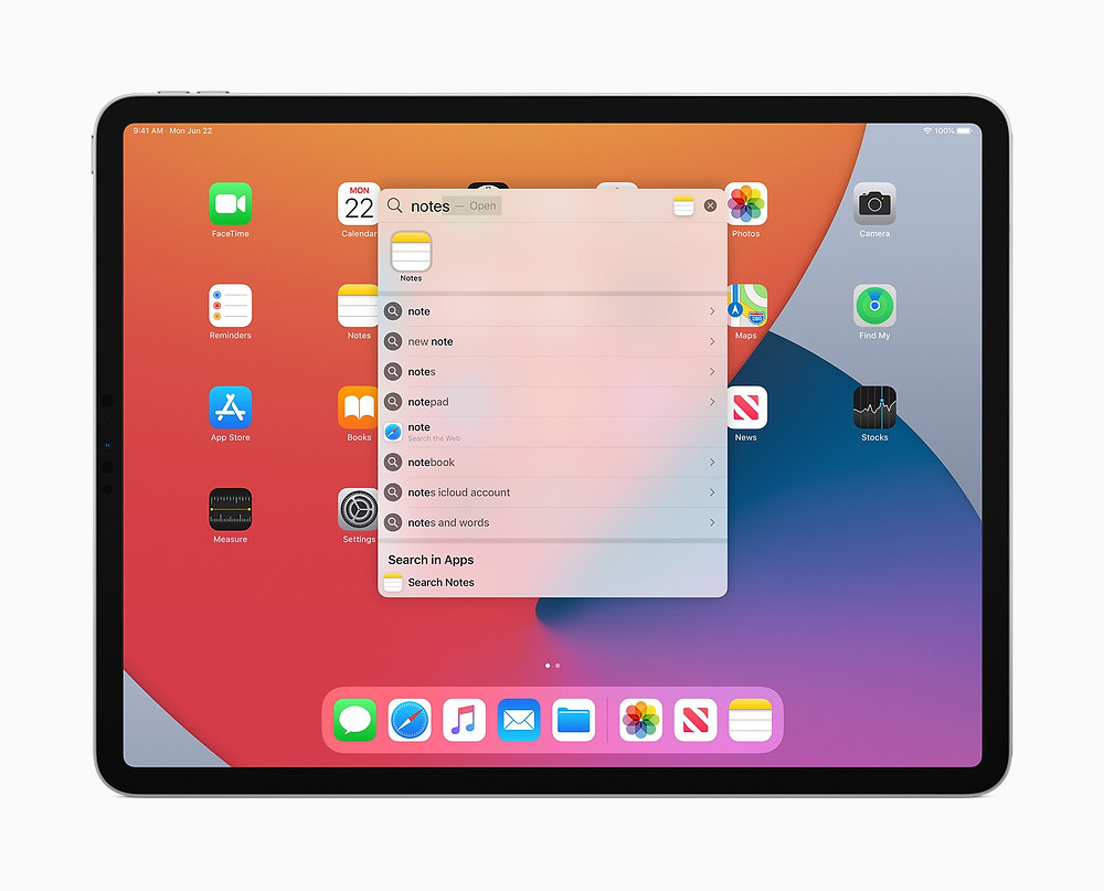 Universal Search comes to iPad with iPadOS 14 in the fall.