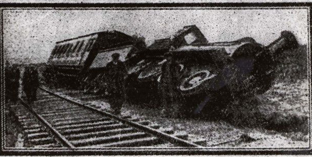 Pixilated image of a steam engine, coal carrier and one carriage lie on their side, totally derailed. Onlookers inspecting damage are looking at the camera
