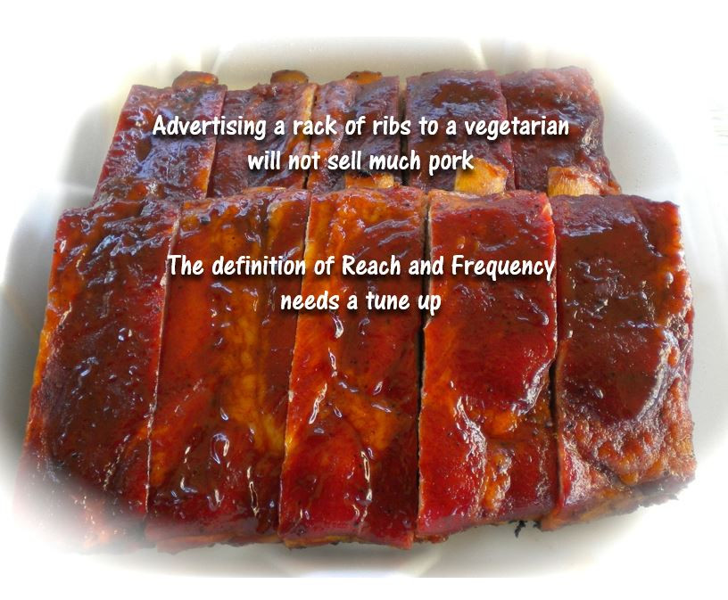 Advertising a rack of ribs to vegetarian will not sell much pork regardless of frequency.