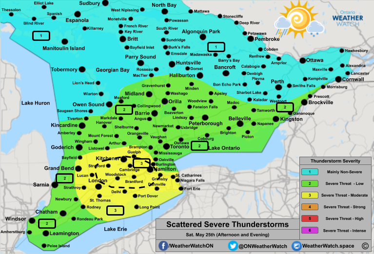 Thunderstorm Forecast, for Southern Ontario. Issued May 25th, 2019.