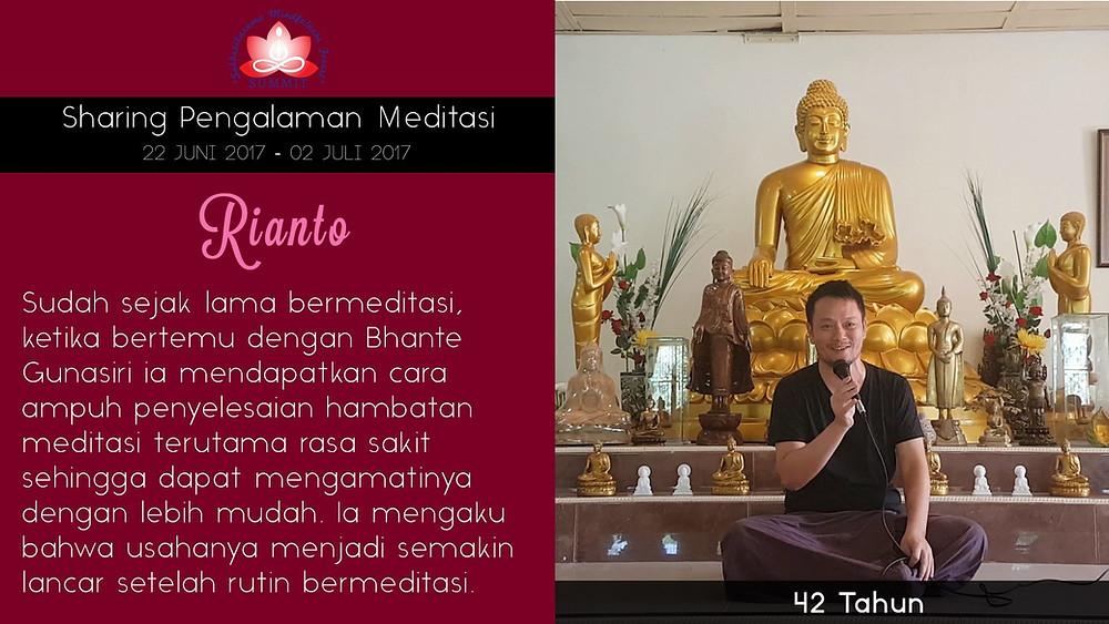 Mudah mengamati sakit dalam Meditasi - Sharing oleh RIANTO