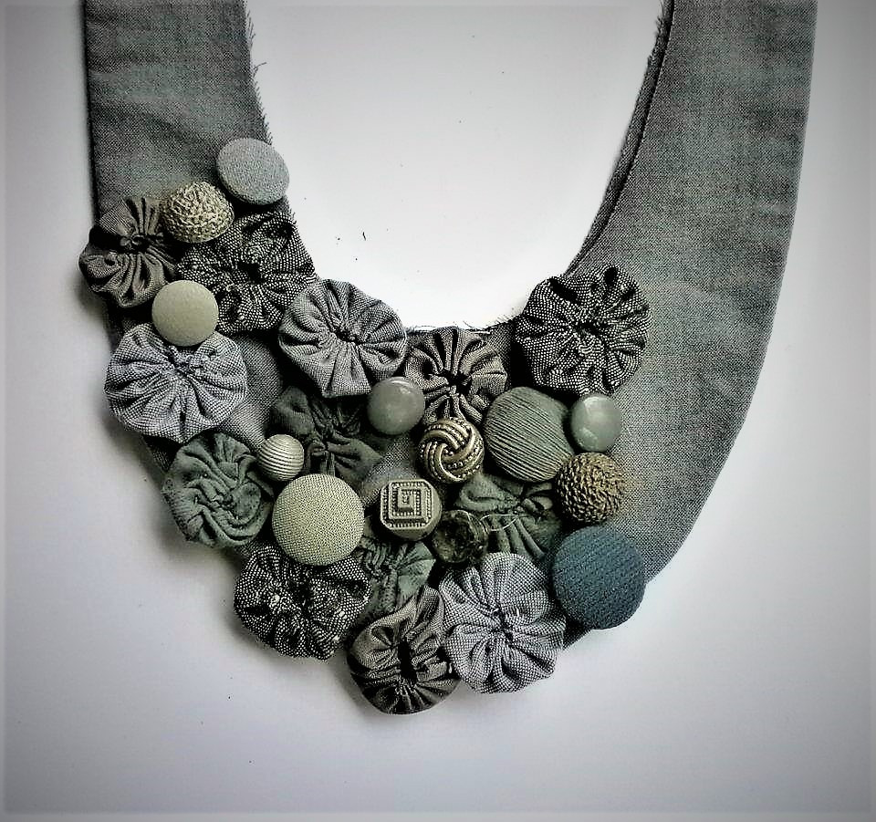 Grey textile necklace