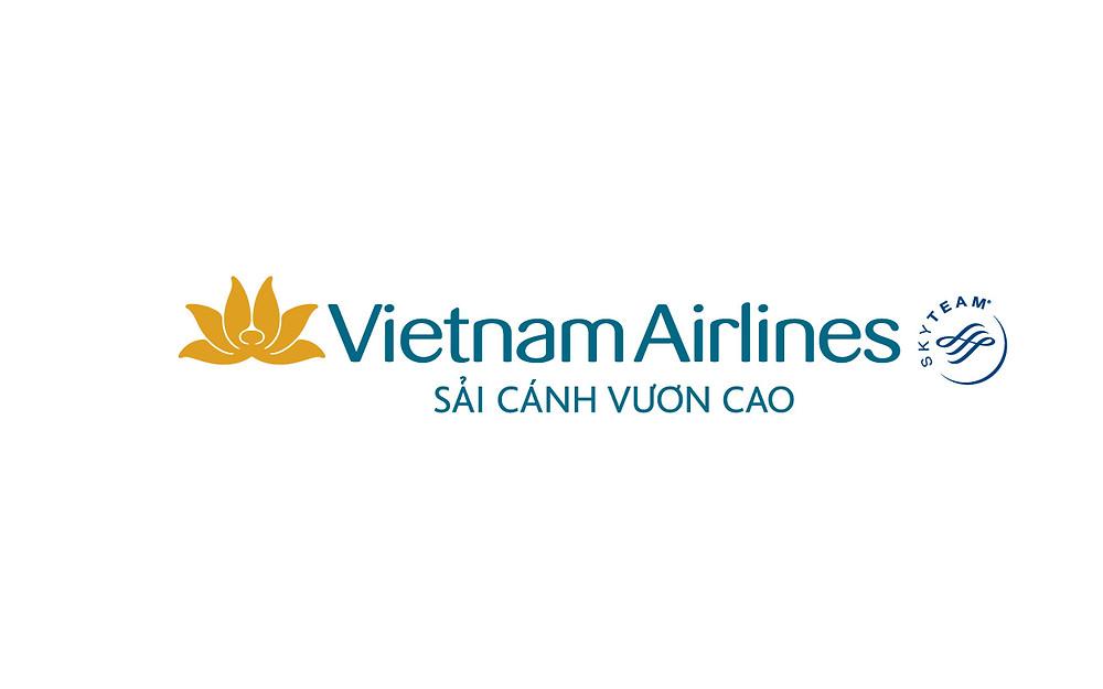 Logo Vietnam Airlines Slogan Sải cánh vươn cao - Bố cục ngang