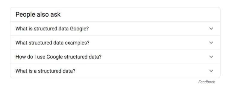 Example of People Also Ask Questions from structured data