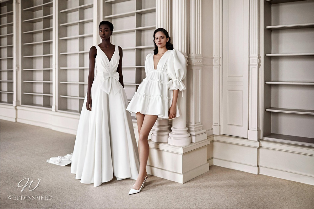 A Viktor & Rolf 2021 ball gown wedding dress with bows and a short wedding dress with puff sleeves
