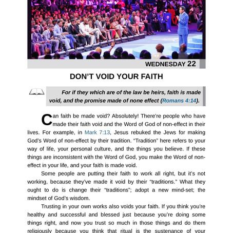 DON'T VOID YOUR FAITH