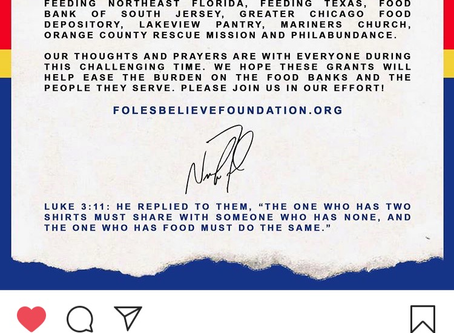 "FOLES BELIEVE FOUNDATION-Giving Back ""Lifetime Chap"""