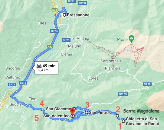 Itinerario Val di Funes Google Maps