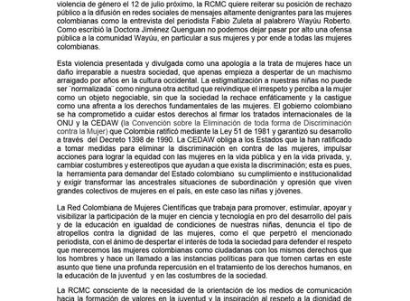 Comunicado en Defensa de los Derechos de la Mujer Wayúu