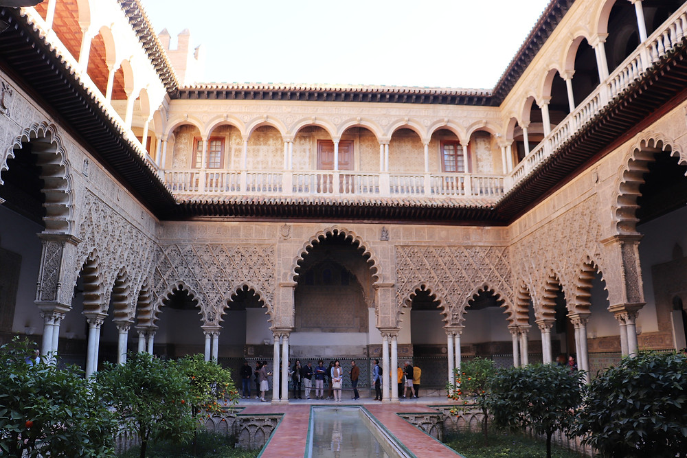 Real alcazar of seville, courtyard spain