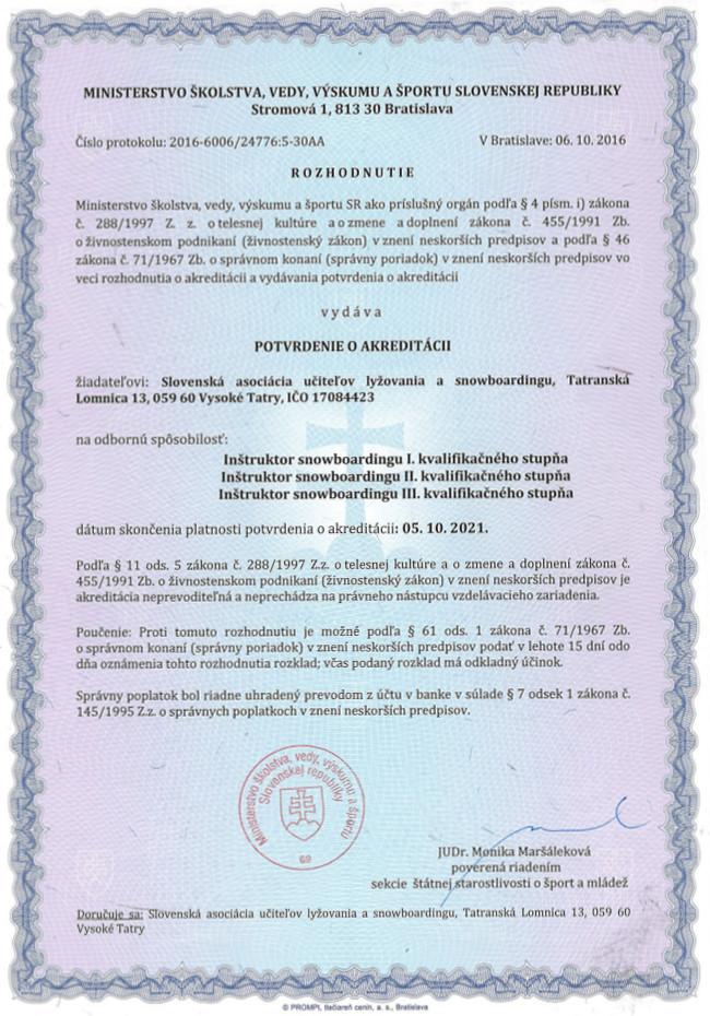 Akreditácia SAPUL Snowboard
