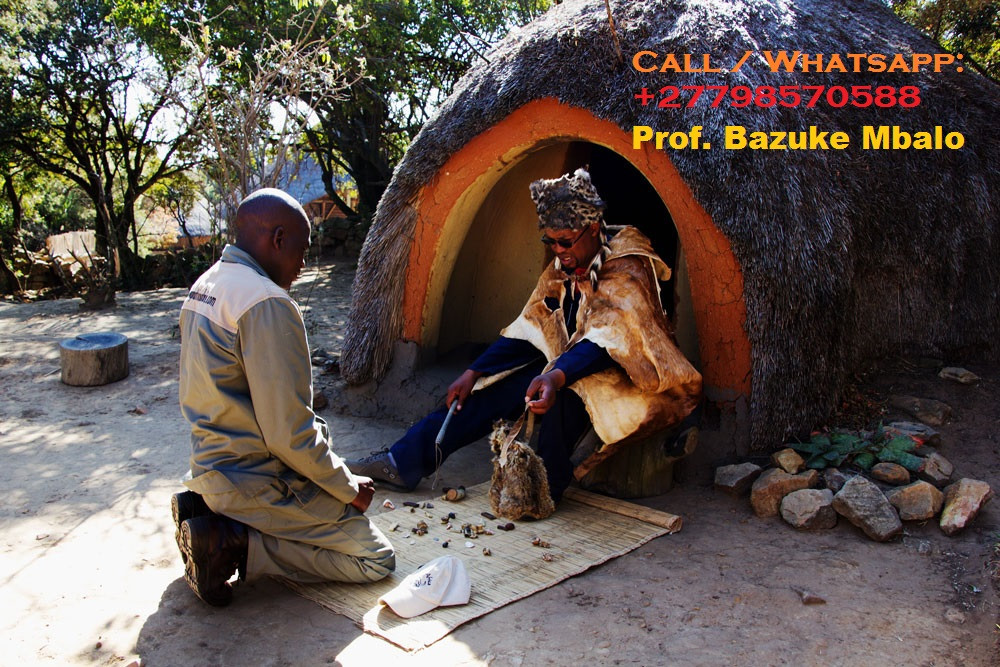 """Prof. BAZUKE MBALO '+27798570588'. Is unique Traditional herbalist healer, Lost Love Spell Caster, Sangoma like no other; His regarded by many as the Greatest healer of this generation;   Am the only best powerful traditional spiritual herbalist healer, Lost Love Spells, Powerful Sangoma, LOTTO Winning Spells, Marriage Spells Caster, AZUUA Magic Ring for wealth, AZUUA Magic Wallet for money, Get Money into your Account Spells, Penis Enlargement Medicine, Back pains Medicine, Hips and Bums Enlargement, Breasts Enlargement, Short boys for money, Black Magic Spells, Voodoo Spells, Binding Spells and many more.   I use the miracle black magic spells and strong herbal medicine to heal and cure all people's complications in life. I inherited this job from my ancestors of my family. For so long my family has been famous as the best traditional spiritual healer family.  """"I can read your fate and destiny accurately by using the ancient methods of checking through water, mirror, your hands and many other enabling me to tell you all your problems, AM the current leader and Foreteller of the grand ancestral shrine of BANTU which has been in existence since the beginning of the world as a source of the most powerful unseen forcers, I have solved many mysterious problems by using the invisible powers.  Am regarded by many as the greatest powerful spiritual healer on the planet today""""  # Bring back lost lover in (3days). # Strong love spells/Marriage spells # Do you want divorce or stop it? # Make him/her love yours alone. # Business and money boosting and customer attraction # Stop court cases(same day) # Do you have pregnancy complications? # Get a partner of your choice (3days). # Job and job promotion # Remove bad luck # Remove tokoloshe, cleansing of homes premises. # pass all assignments: Work interviews, school exams, soccer interviews  # win all chance games (lotto, casino, soccer bet, etc) # ultimate magic powers for Leadership, preachers(fellowships), sangomas DETAILED I"""