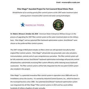 Filter Magic® Awarded Project for Fort Leonard Wood Water Plant located in St. Robert, Missouri
