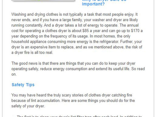 Clothes Dryer Safety and Energy Tips