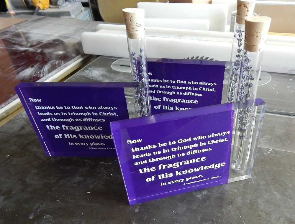 acrylic back painted and screen printed block vases