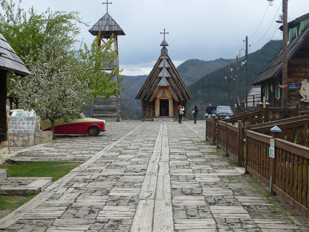 Wooden church in Drvengrad Village movie set, Serbia