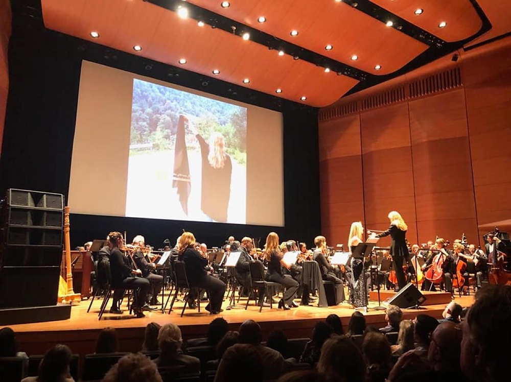 "Sharon performing her piece ""Hurroyah- wind in my hair"" with the 'Orchestra Moderne'"