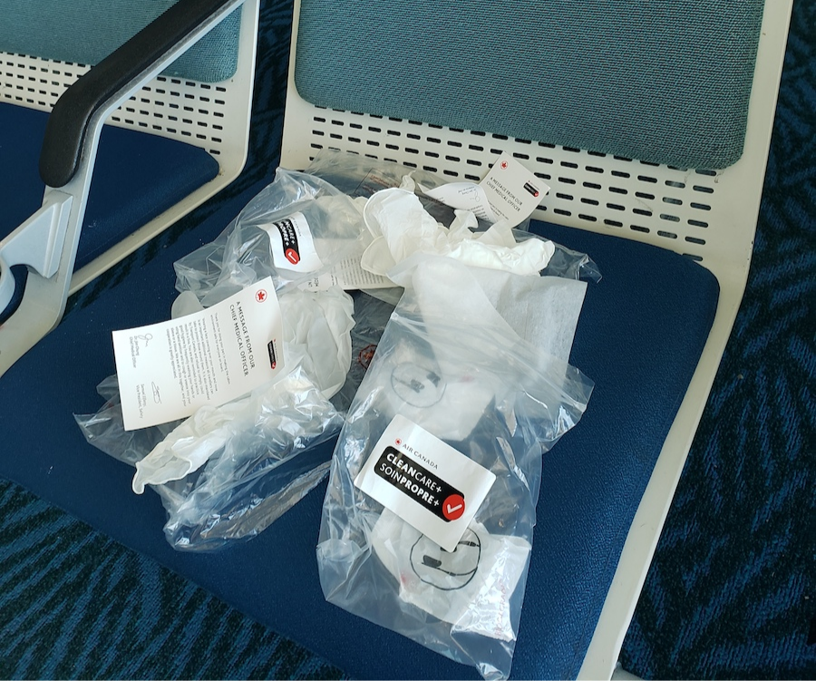 Air Canada in-flight COVID cleaning kit waste