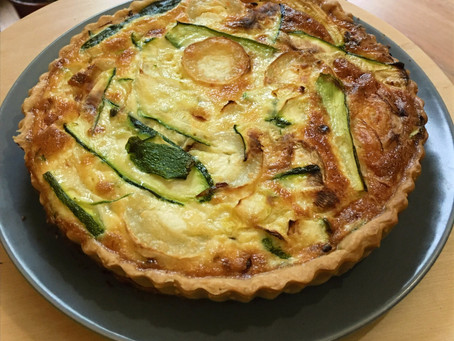 Caramelised onion, goat's cheese and courgette quiche recipe