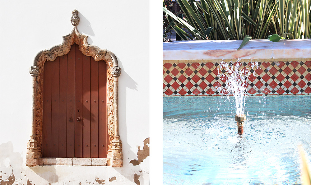 A ancient door from the moorish times and a fountain with Portuguese tiles in Silves, Algarve