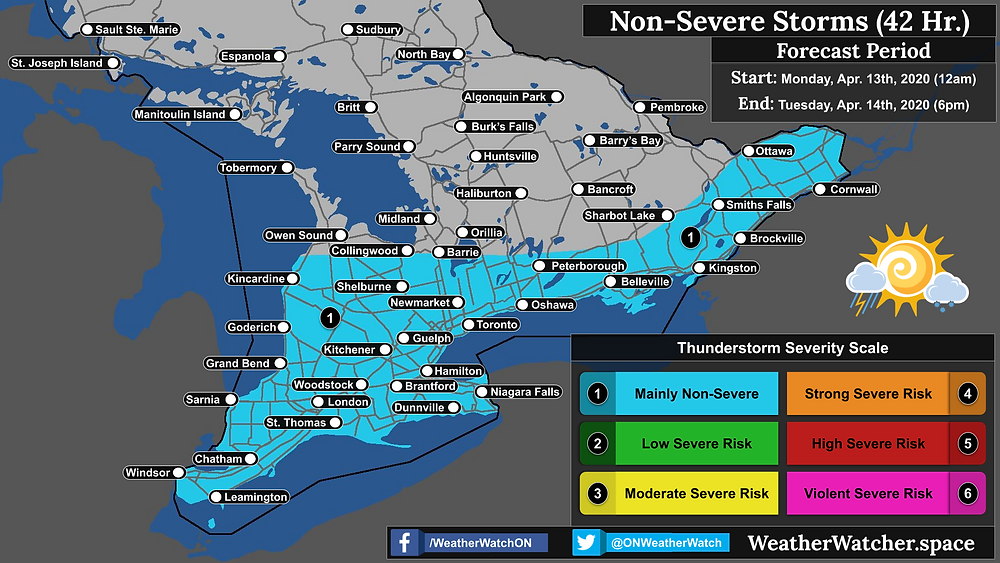 Thunderstorm Forecast, for Southern Ontario. Issued April 13th, 2020.