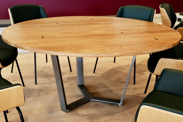 Flite Circular Table with FSC oak top and mild steel base.