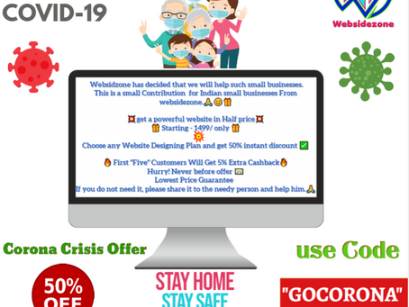 A Contribution To Indian Small Businesses During Corona Crisis. 50% off On All Web Designing Plans