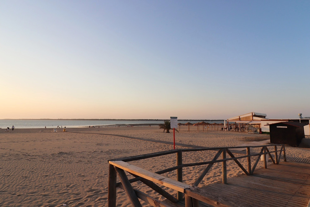 Beach at sunset in Sanlucar de Barrameda, Cadiz, Spain