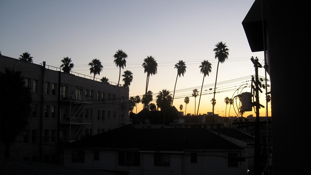 The sun setting over Los Angeles
