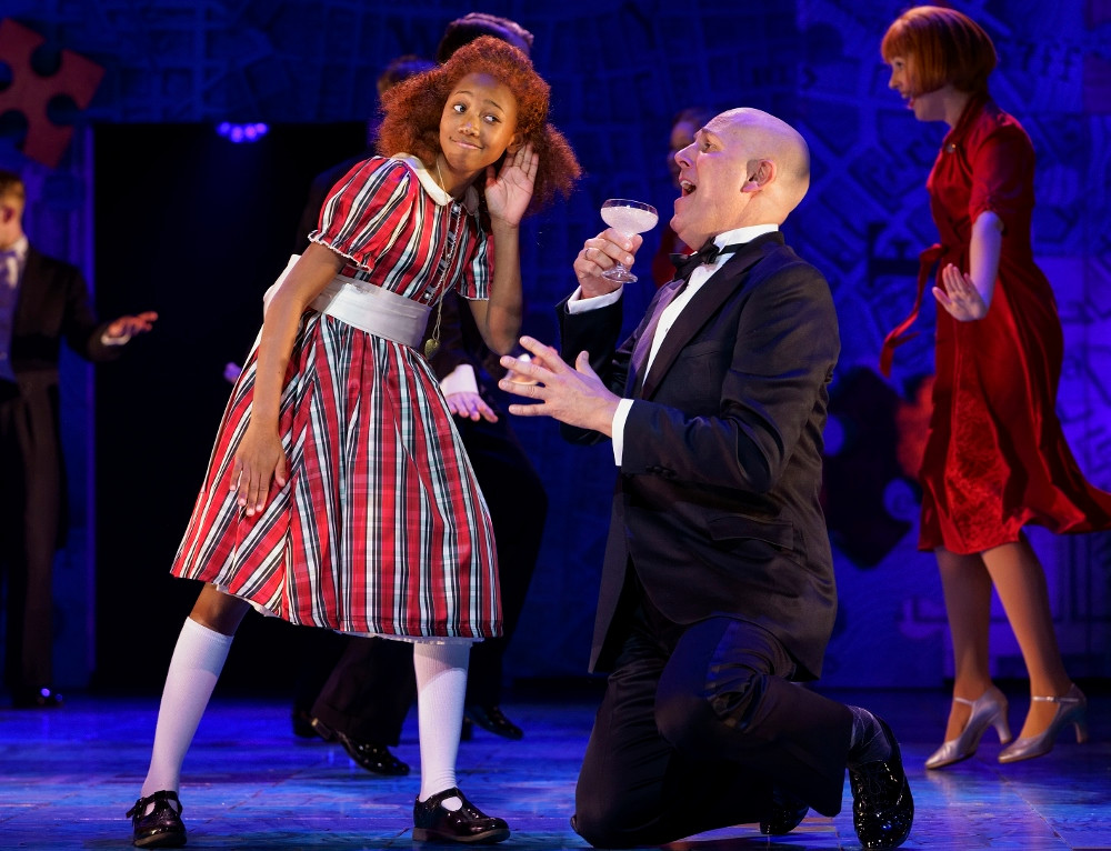 Taziva-Faye Katsande Annie and Alex Bourne Oliver Warbucks in Annie at Manchester Opera House. All pics Paul Coltas