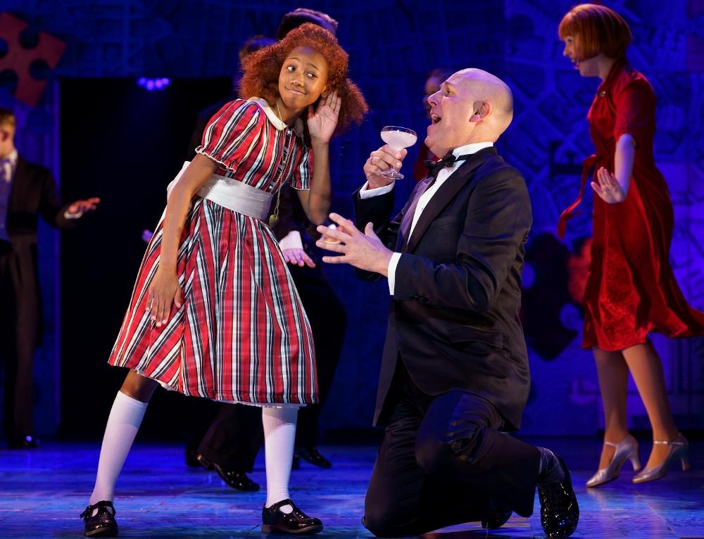Taziva-Faye Katsande Annie and Alex Bourne Oliver Warbucks in Annie at Manchester Opera House. All pics Paul Coltas