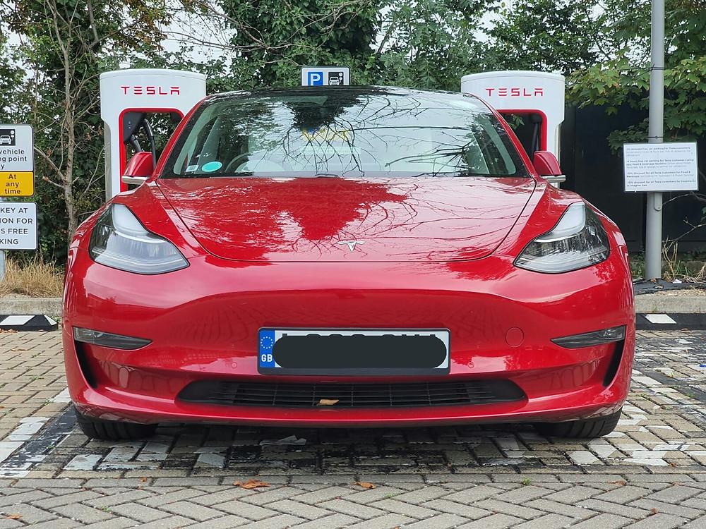 Tesla Model 3 at a SC - Sam Albuquerque