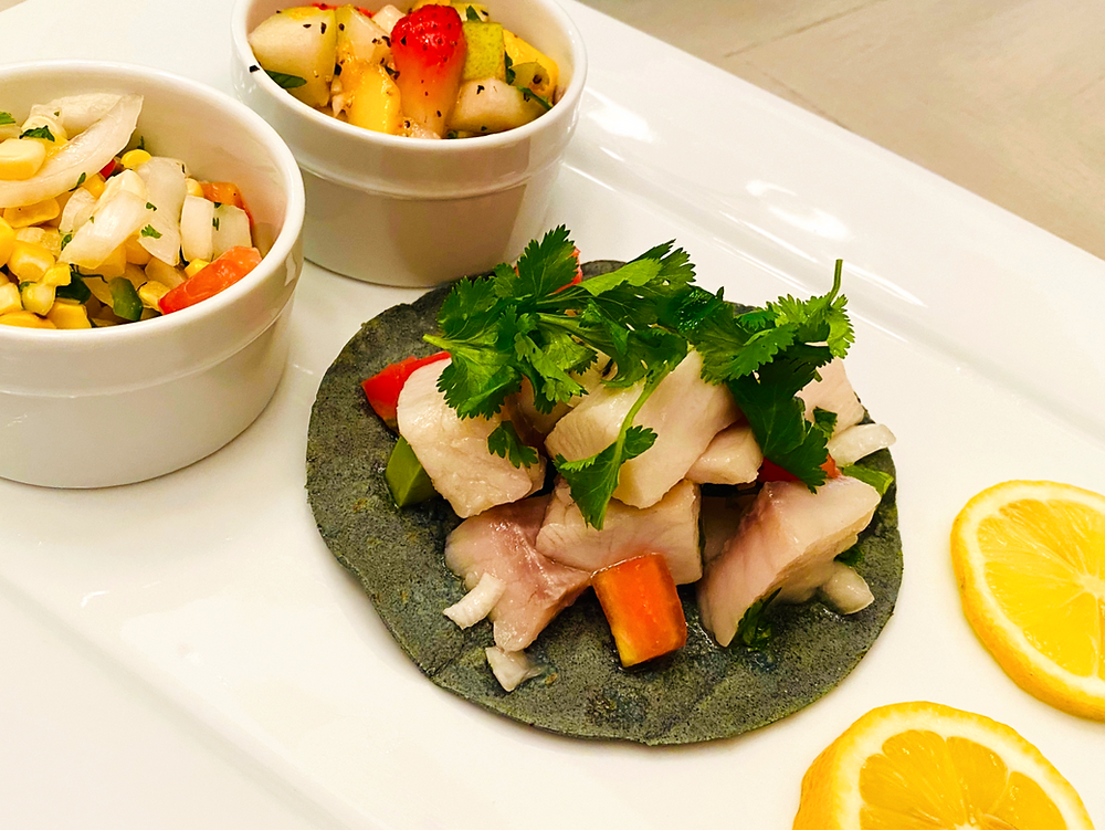 Ceviche Tacos with Salsa Duo