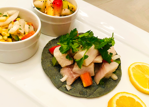 Gluten Free Ceviche Tacos with Salsa Duo