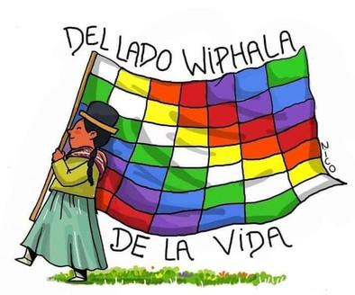 A bandeira Wiphala representa a população originária dos andes e também a filosofia andina.
