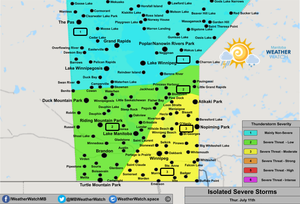 Thunderstorm Forecast, for Southern Manitoba. Issued July 11th, 2019.