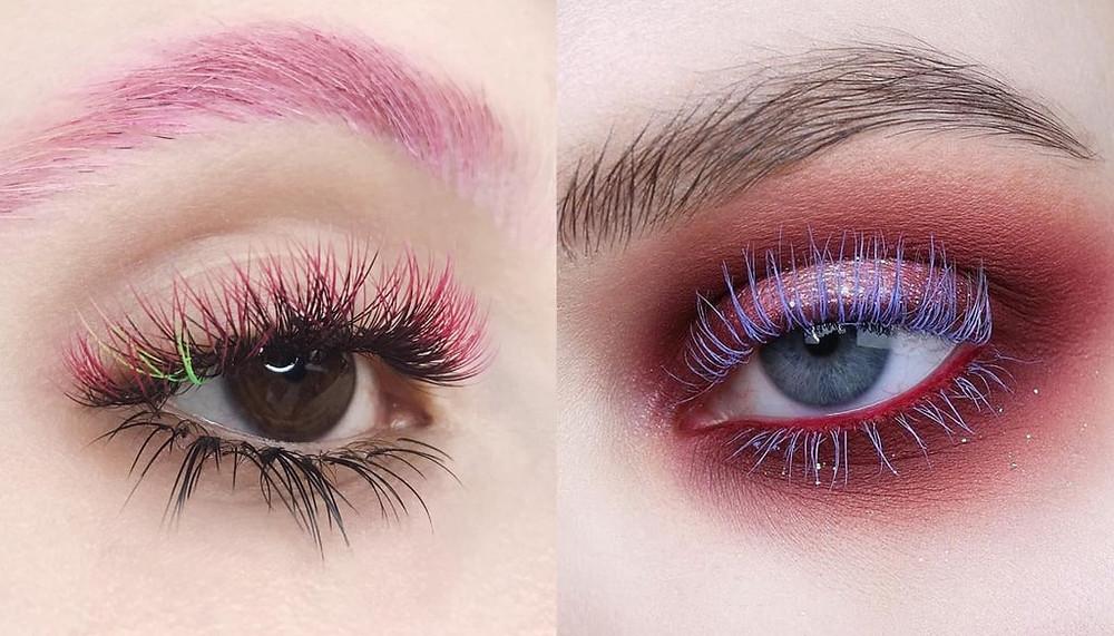 Coloured lashes, cílios coloridos, máscara de cílios colorida
