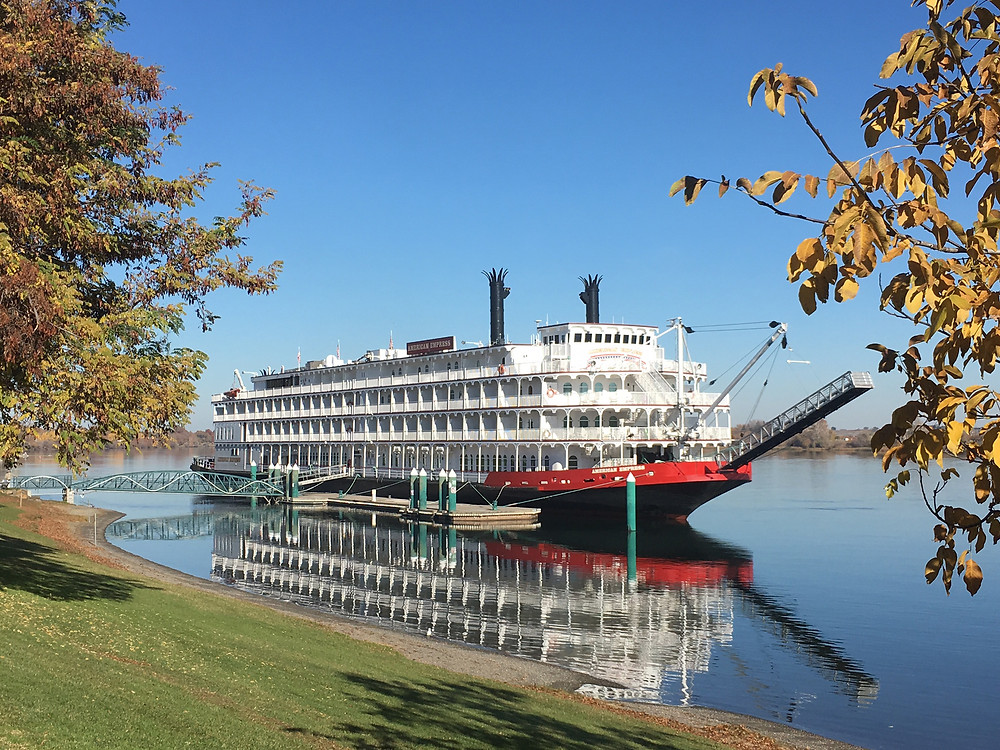 American Queen Steamboat Company ship, American Empress on the river in Oregon