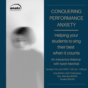21st Jun 2020 | ONLINE | Conquering Performance Anxiety with Sarah Marshall