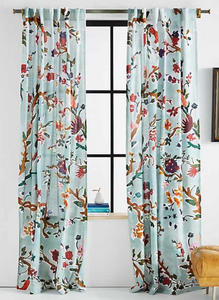 blue curtains, patterned curtains, fun curtains, accent curtains, home design, pattern, orange and blue pattern,