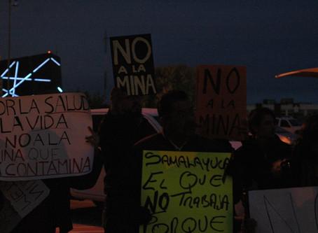 Juarenses y pobladores de Samalayuca se manifestaron en contra de la mina